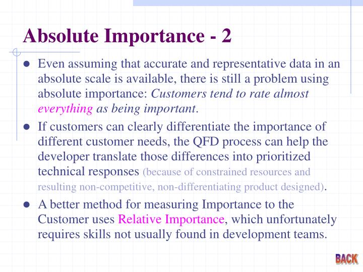 Absolute Importance - 2