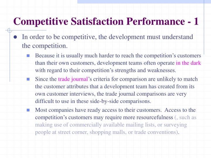 Competitive Satisfaction Performance - 1