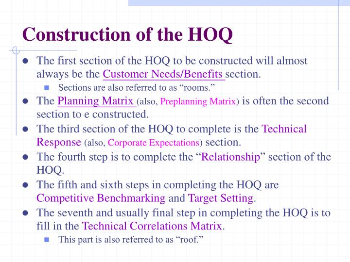 Construction of the HOQ