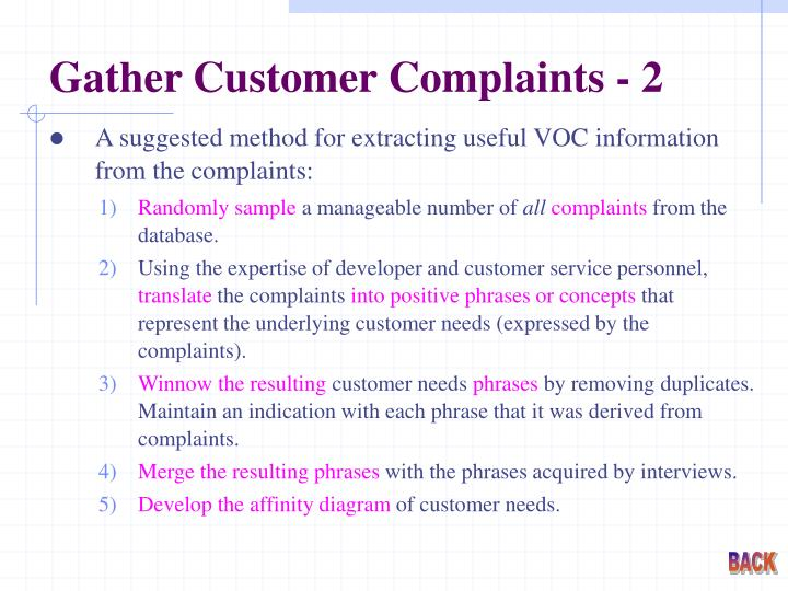 Gather Customer Complaints - 2