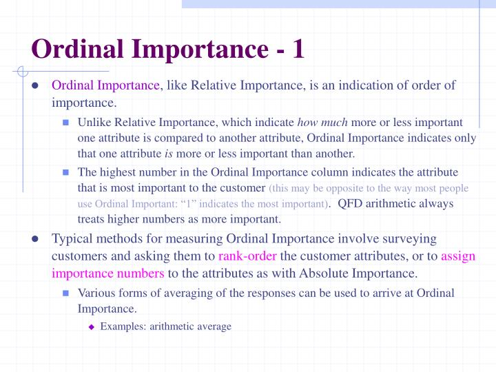 Ordinal Importance - 1