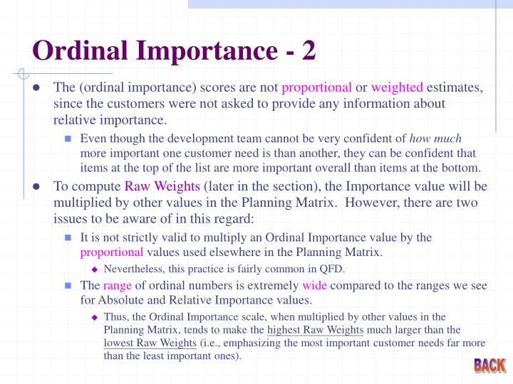 Ordinal Importance - 2