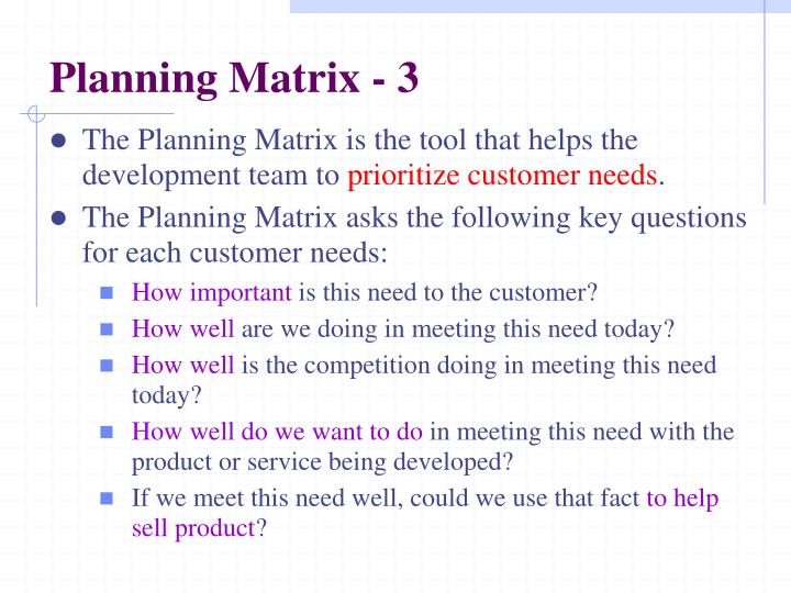 Planning Matrix - 3