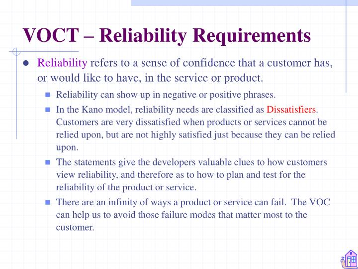 VOCT – Reliability Requirements