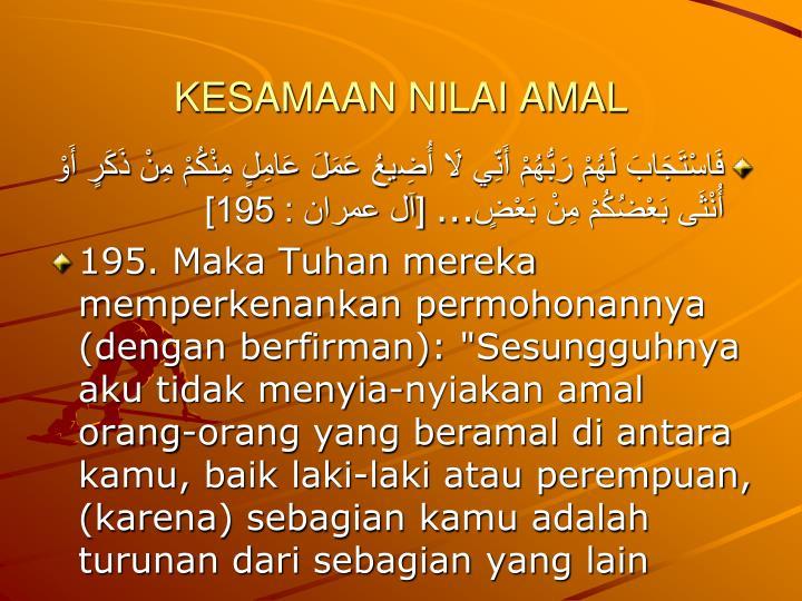 KESAMAAN NILAI AMAL