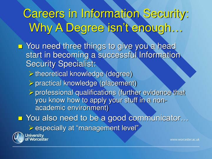 Careers in Information Security: Why A Degree isn't enough…