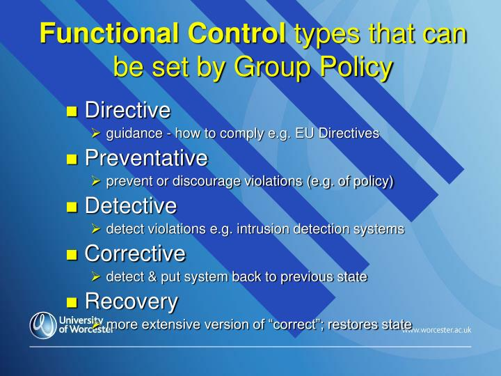 Functional Control