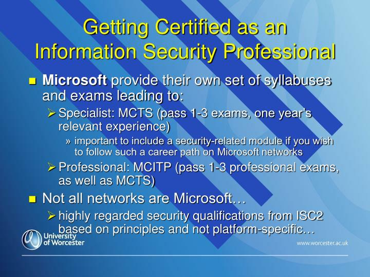 Getting Certified as an Information Security Professional