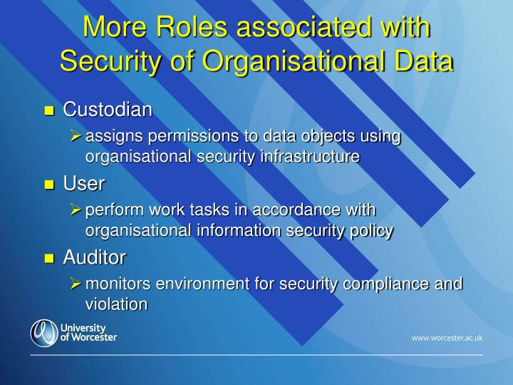 More Roles associated with Security of Organisational Data