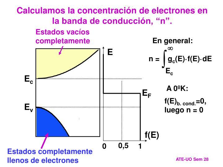 """Calculamos la concentración de electrones en la banda de conducción, """"n""""."""