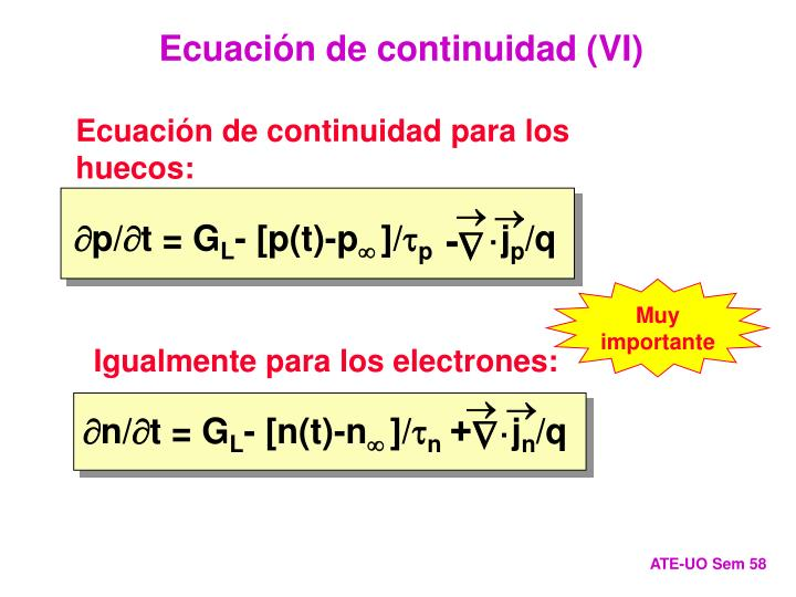 Ecuación de continuidad (VI)