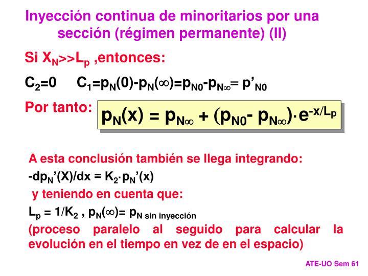Inyección continua de minoritarios por una sección (régimen permanente) (II)