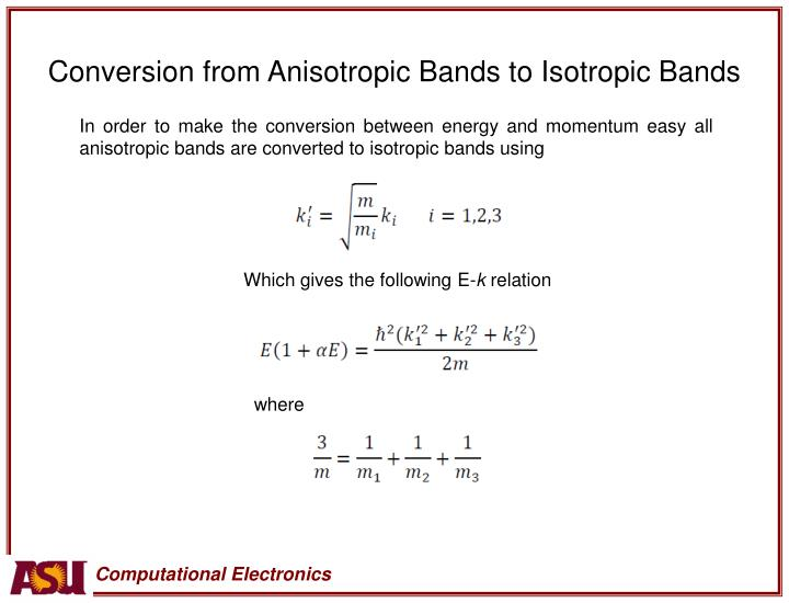 Conversion from Anisotropic Bands to Isotropic Bands