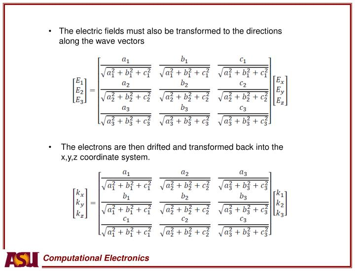 The electric fields must also be transformed to the directions along the wave vectors