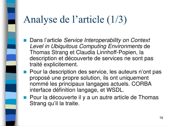 Analyse de l'article (1/3)