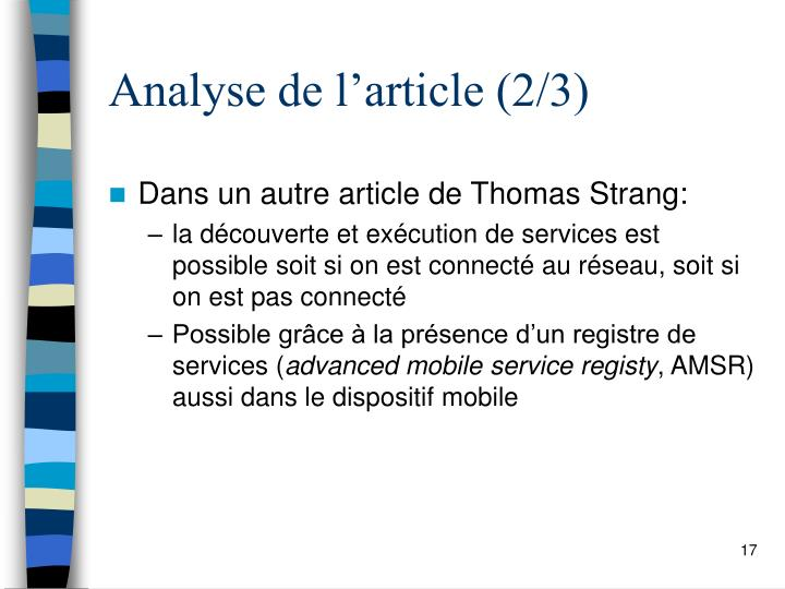 Analyse de l'article (2/3)