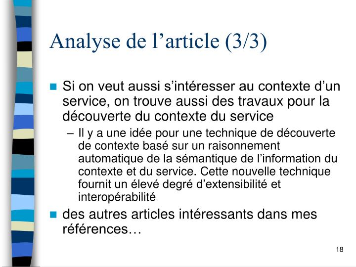 Analyse de l'article (3/3)