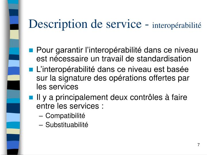 Description de service -