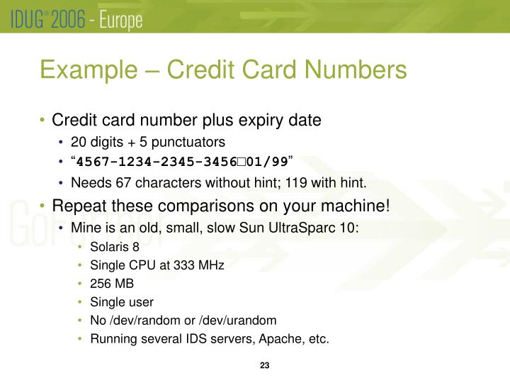 Example – Credit Card Numbers