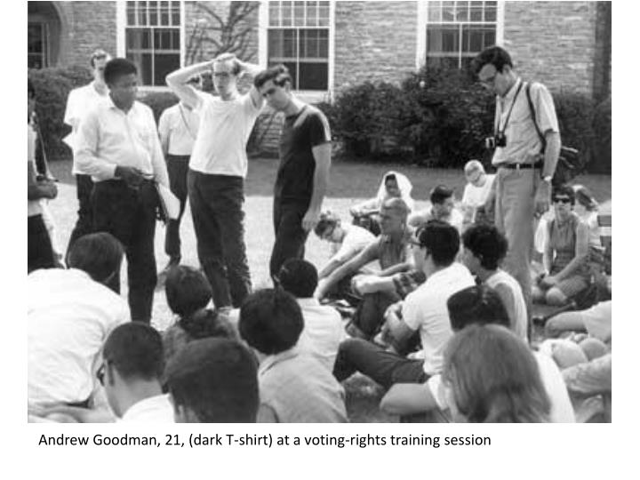 Andrew Goodman, 21, (dark T-shirt) at a voting-rights training session