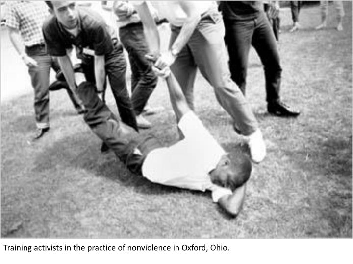 Training activists in the practice of nonviolence in Oxford, Ohio.