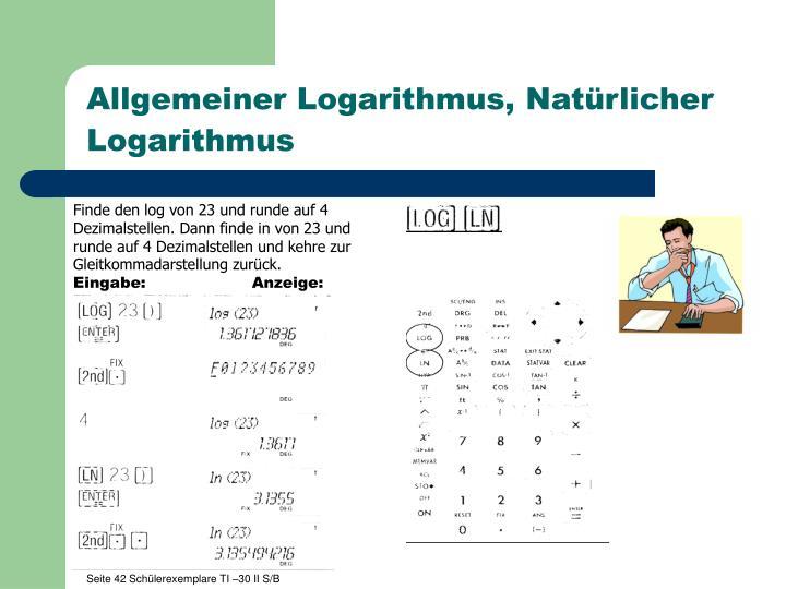 Allgemeiner Logarithmus, Natürlicher Logarithmus