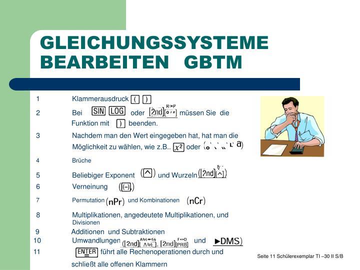 GLEICHUNGSSYSTEME  BEARBEITENGBTM