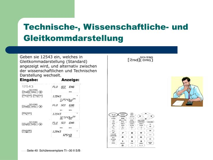 Technische-, Wissenschaftliche- und Gleitkommdarstellung
