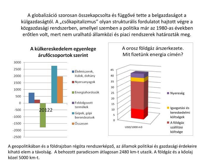 """A globalizáció szorosan összekapcsolta és függővé tette a belgazdaságot a külgazdaságtól. A """"csőkapitalizmus"""" olyan strukturális fordulatot hajtott végre a közgazdasági rendszerben, amellyel szemben a politika már az 1980-as években erőtlen volt, mert nem uralható államközi és piaci rendszerek határozták meg."""