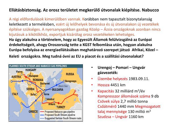Ellátásbiztonság. Az orosz területet megkerülő útvonalak kiépítése. Nabucco