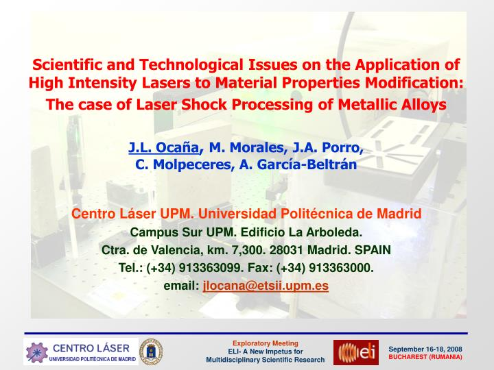 Scientific and Technological Issues on the Application of High Intensity Lasers to Material Properti...