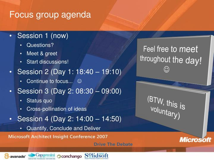 Focus group agenda