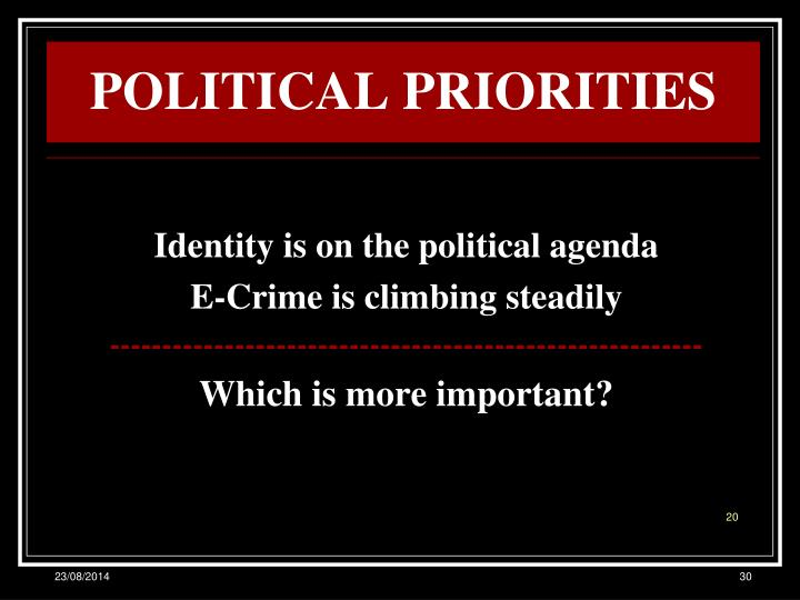 POLITICAL PRIORITIES