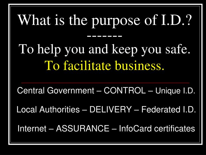 What is the purpose of I.D.?