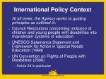 international policy context