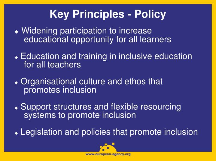 Key Principles - Policy