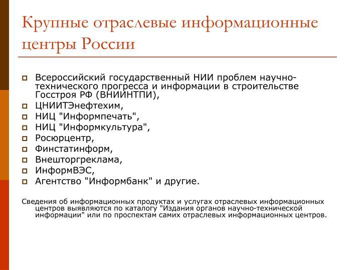 Крупные отраслевые информационные центры России