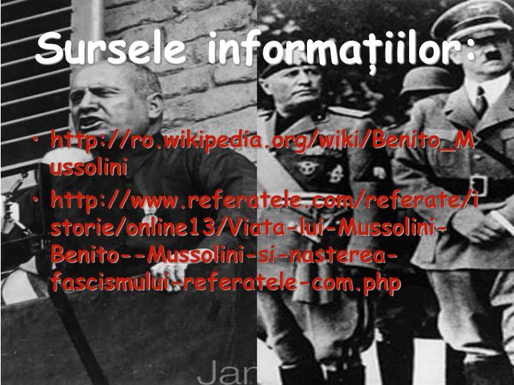Sursele informațiilor