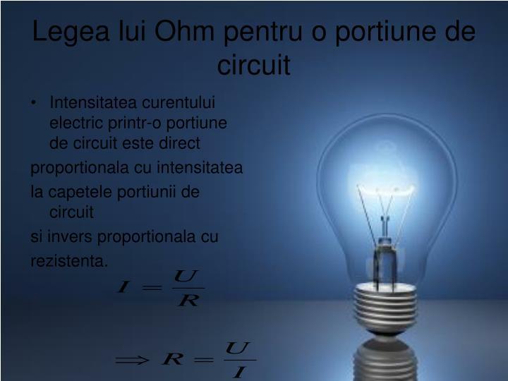 Legea lui Ohm pentru o portiune de circuit