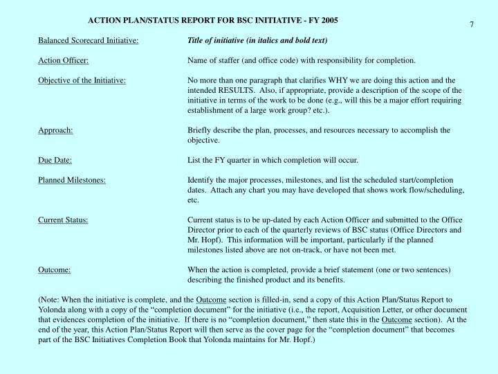 ACTION PLAN/STATUS REPORT FOR BSC INITIATIVE