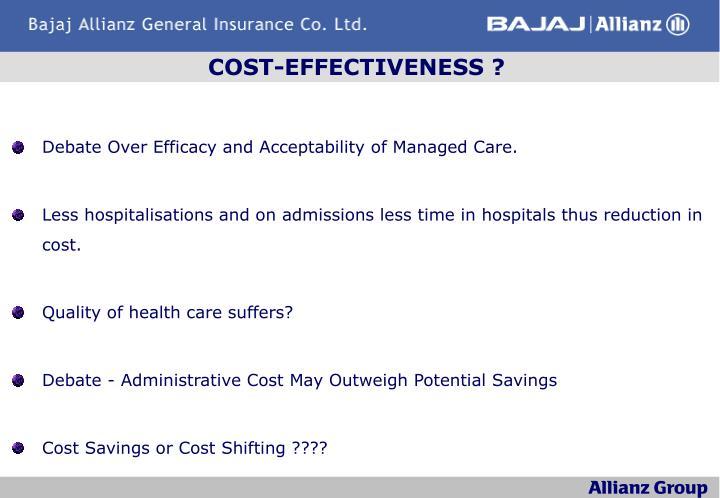 COST-EFFECTIVENESS ?