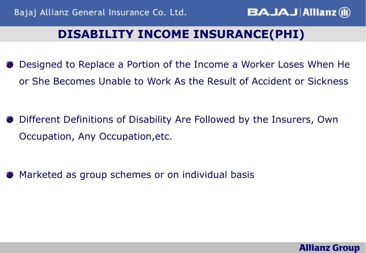 DISABILITY INCOME INSURANCE(PHI)