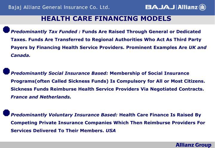 HEALTH CARE FINANCING MODELS