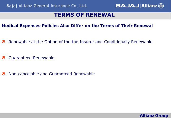 TERMS OF RENEWAL