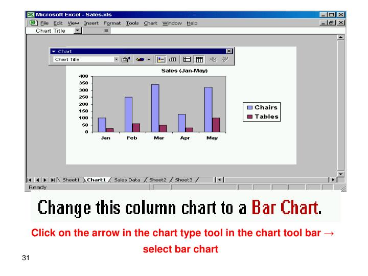 Click on the arrow in the chart type tool in the chart tool bar → select bar chart