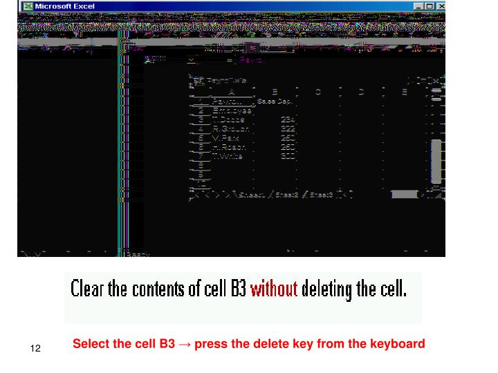 Select the cell B3 → press the delete key from the keyboard