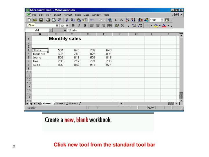 Click new tool from the standard tool bar