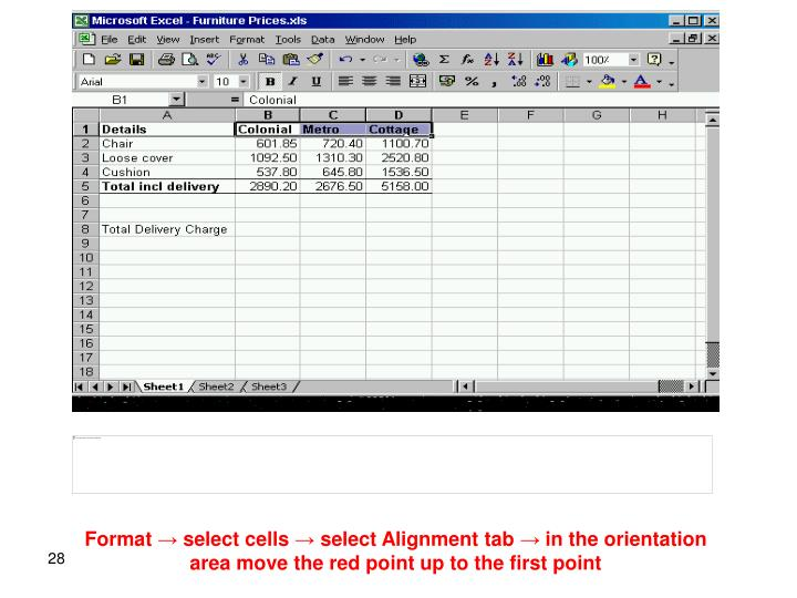 Format → select cells → select Alignment tab → in the orientation area move the red point up to the first point