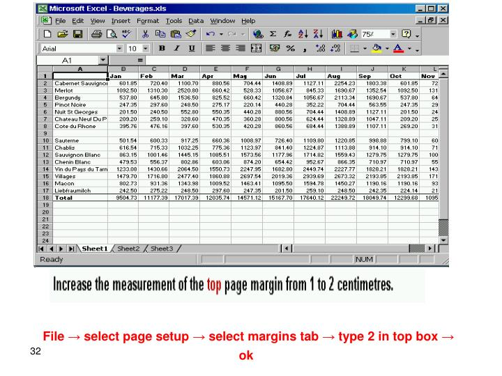 File → select page setup → select margins tab → type 2 in top box → ok