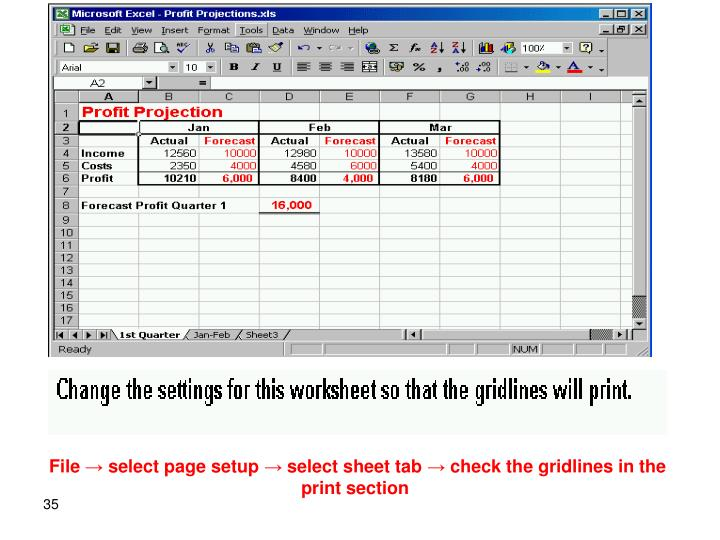 File → select page setup → select sheet tab → check the gridlines in the print section